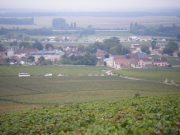 Day 6 - Looking down on Vosne from Petit Monts with R-L La Grande Rue, Romanee Conti & Richebourg