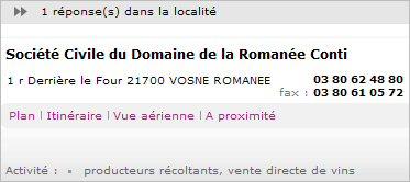 domaine de la romanee conti address contact details