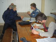 First thing with Cyprien doing TESA paperwork for new vendangeur. Annie & Thierry in background.