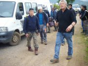 Day 6 - Arlaud vendangeurs exiting Petit Monts 6 with Herve phone in hand planning next move