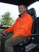 Super nice guy, self effacing, top bloke Christophe Roumier in tractor seat by Morey Clos de la Bussieres
